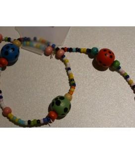 ketting - armband bollen met stipjes