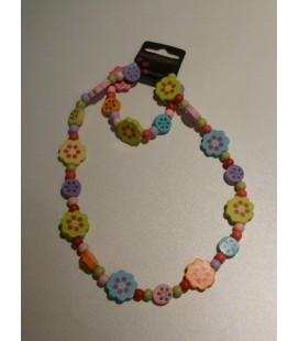 Houten ketting - armband bloemen met stippen