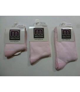 Melton - licht roze/wit gestreept