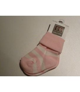 Melton  Licht roze/wit grote streep babysokjes