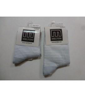 Melton - licht blauw/wit streep baby sokjes