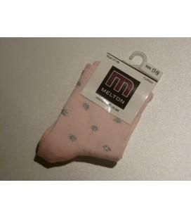 Melton - roze met zilveren stippen babysokjes