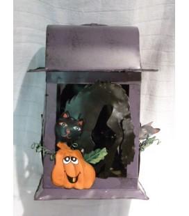 deco - Lantaarn Halloween - pompoen/zwarte kat