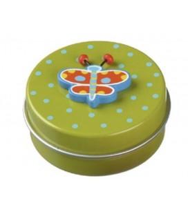 Tandendoosje metaal Vlinder groen