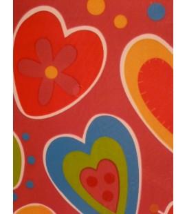 Houten kaart - Gekleurde harten