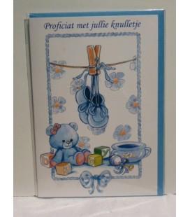 Kaart met baby slofjes blauw