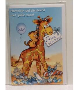 Kaart met girafje / blauw