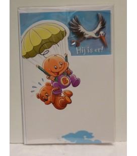 Kaart met parachute -baby