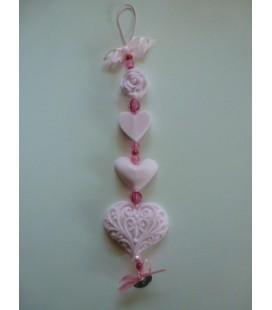 Zeepketting roos, 2 hartje & filigraan