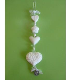 Zeepketting 2 hartje, bloem & filigraan