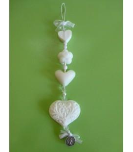 Zeepketting 2 hart, bloem & filigraan