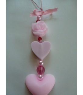 Zeepketting roosje & 3 hartjes