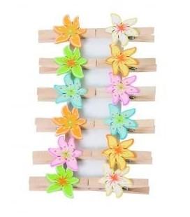 Houten knijpers met bloemen