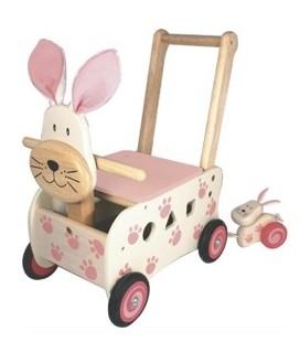Loopwagen / duwwagen konijn