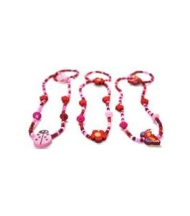 Meisje roze houten ketting /armband 3 ass.