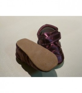 Leren babyslofjes glimmend paars - Melton
