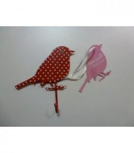 Kapstok rood/witte vogel metaal
