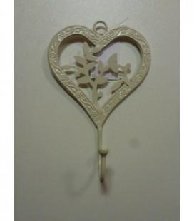 Kapstok 1 haak open floral hart
