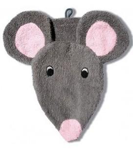 Dieren washandje muis grijs