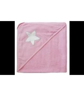 Is mini - badcape roze met zilveren ster