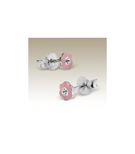 Tiara - Kinder-oorbellen roze bloemetjes