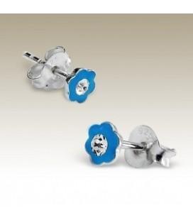 Tiara - Kinder-oorbellen blauw bloemetjes