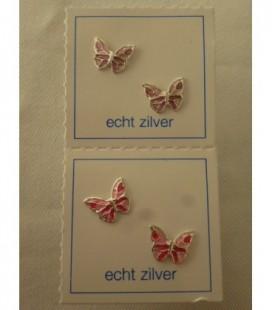 Zilveren oorstekers roze vlinders
