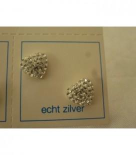 Zilveren oorstekers wit glitter hartje