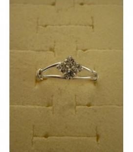 Zilveren tienerring (maat 15/17) 4 strass steentjes