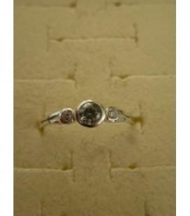 Zilveren tienerring (maat 15/17) 3 strass st.