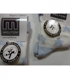 Melton - wit/lichtblauw ster babysok 2 maten