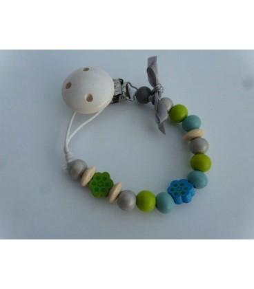 Speenkoord blauw/lime + witte clip