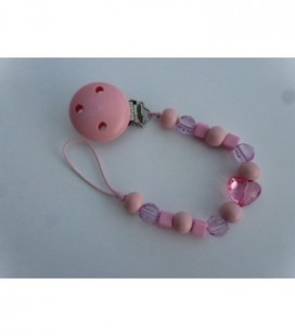 Speenkoord roze hartje+ roze clip
