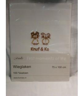 Wieglaken wit / Knuf & Co Bruin