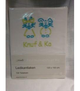 Ledikantlaken  wit/ Knuf & Co lime