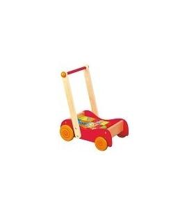 Duwwagen loopwagen hout met gekleurde blokken