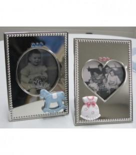 Fotolijst zilverkleurig roze - blauw