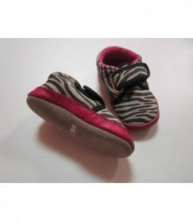Meisjes zebra slofjes roze/zwart
