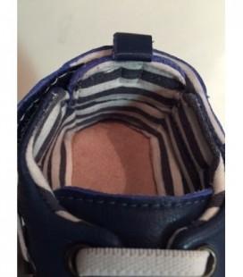 Blauw leren slofjes met elastische veters