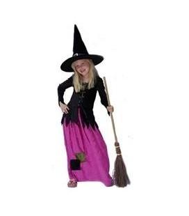 Heksen jurk zwart paars