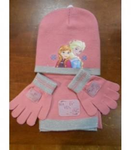 sjaal muts handschoenen roze Frozen