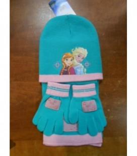 sjaal muts handschoenen groen/roze Frozen