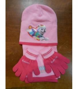 sjaal muts handschoenen roze Paw Patrol hond