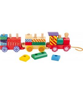 Houten trein met vele kleuren