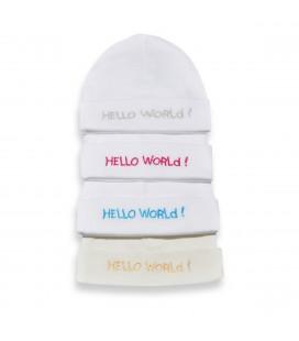 Babymutsje Hello world zilver / roze en blauw