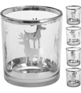 Waxinelicht houder glas kerst 8cm
