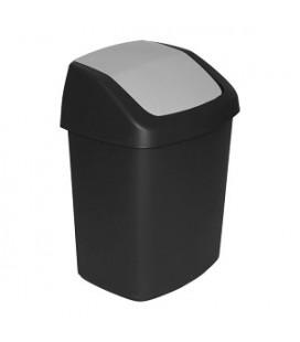 curver afvalbak swing 15 liter zwart /grijs