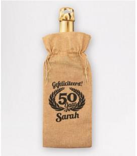 Bottle gift bag -  50 jaar sarah